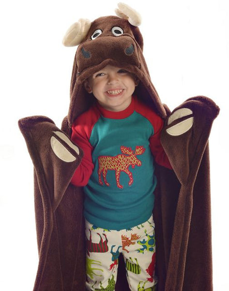 Hooded Kids Fleece Blanket Moose Poshinate Kiddos