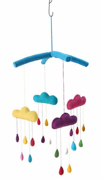 Hanging Felt Mobile | Raindrops - Nursery Decor -  - Poshinate Kiddos