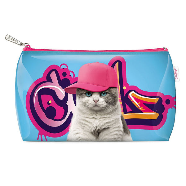 Kids Purse | Kitty Cat at on Graffiti Pink | Large - Accessories - Purses - Poshinate Kiddos