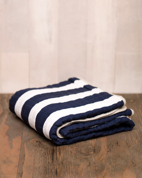 Cotton Muslin Quilt | Navy Stripe