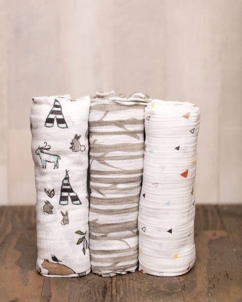 Cotton Muslin Swaddle Set | 3 pc | Forest Friends