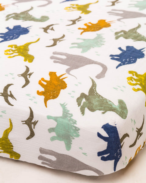 Crib Sheets | Fitted Cotton Muslin | Dino Friends - Crib Sheets -  - Poshinate Kiddos