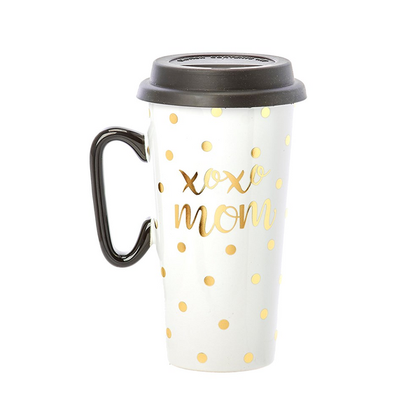 Xoxo Mom Travel Mug | Black & Gold - Accessories - Poshinate Kiddos Baby & Kids Store