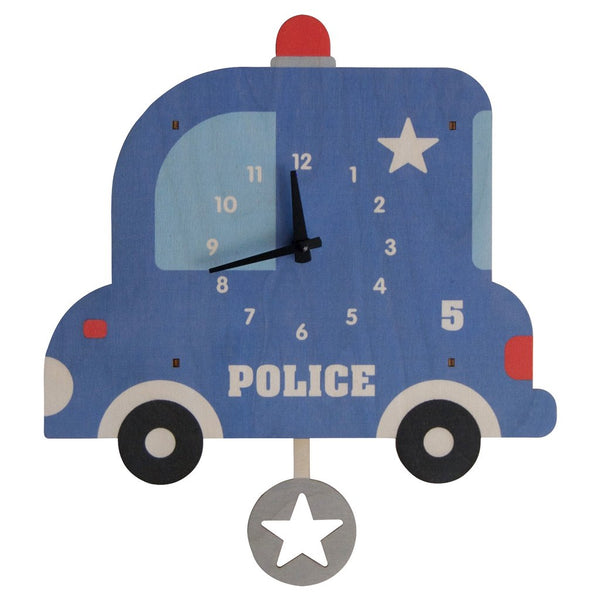 Pendulum Clock | Police Car - Pendulum Clocks - Poshinate Kiddos Baby & Kids Boutique - Side View