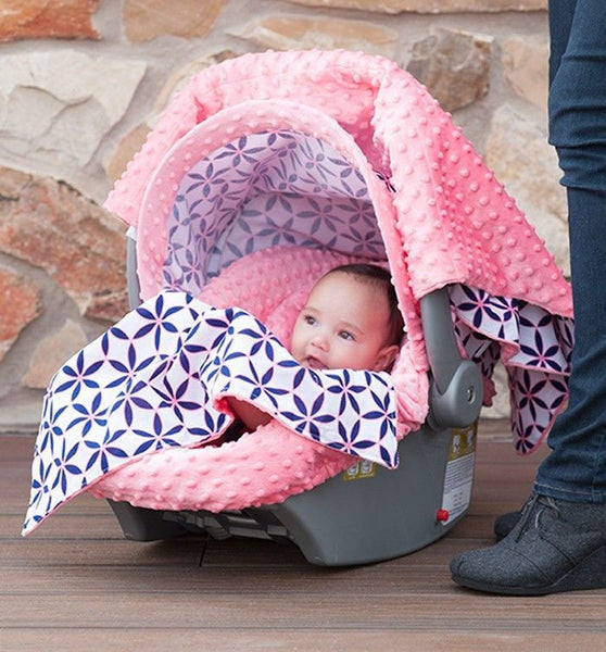 Car Seat Caboodle | 6 pc. set | Pink/Navy Print - Car Seat Cover Sets - - Poshinate Kiddos