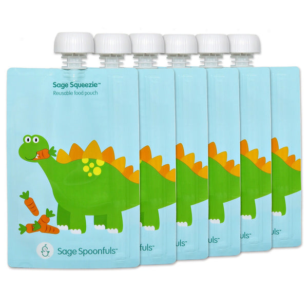 Baby & Kids Fresh Food Prep | Reusable Food Pouches - Dinosaur -Food Prep & Accessories - Poshinate Kiddos Baby & Kids Boutique | 6 pack Dino main image