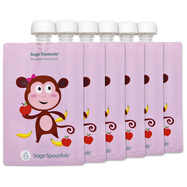 Baby & Kids Fresh Food Prep | Reusable Food Pouches - Monkey - Food Prep & Accessories - Poshinate Kiddos Baby & Kids Boutique | 6 pack Monkey main image