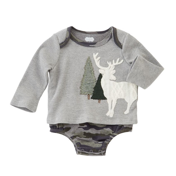 Baby Boy Onesie | Deer & Pine Trees | Grey Camo | Poshinate Kiddos
