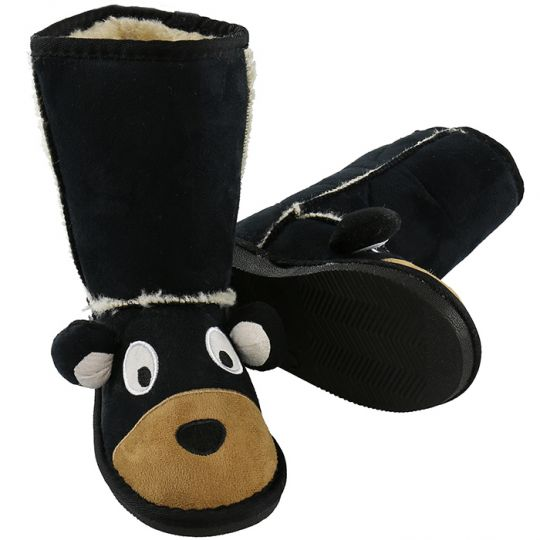 Kids Slippers / Boots | Bear | Black - Slippers & Boots - Poshinate Kiddos Baby & Kids Store