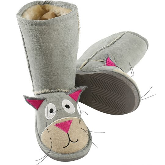 Kids Slippers / Boots | Cat | Grey