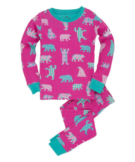 Kiddos Jammie Set | Pink/Teal Bears - Kids Jammie Sets - 2 / Pink/Teal Bears - Poshinate Kiddos