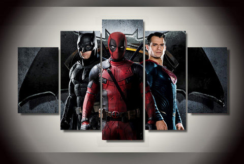 B-man vs S-man and Deadpool - 5 Piece Canvas LIMITED EDITION - The Nerd Cave - 1