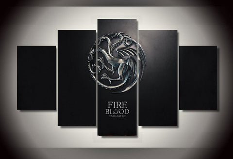 Targaryen - Fire and Blood 5 Piece Canvas LIMITED EDITION - The Nerd Cave