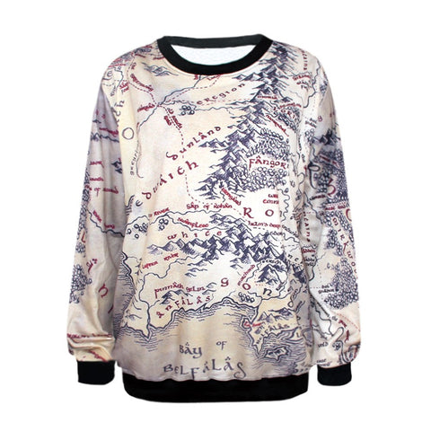 Lord of The Rings Middle Earth Map Sweatshirt - The Nerd Cave - 1