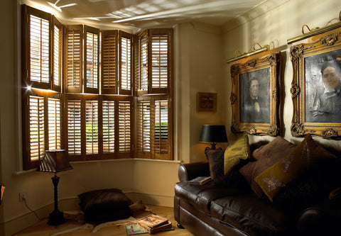 tier on tier shutters for bay windows in dark stain