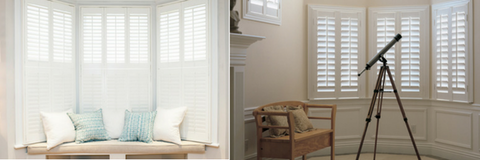 double image showing two solutions for bay windows: on the left white bay window shutters with split louvres, that allows light to enter only from the top; the image on the right shows classic bay window shutters
