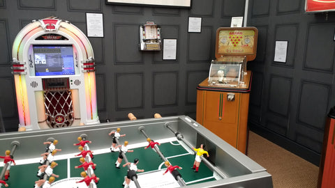 vintage juke box and table football at decorex 2016