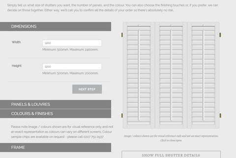 the image shows the design tool to buy your shutters online