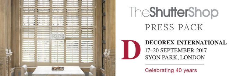 banner with an image of a room with shutters and the decorex international 2017 logo and dates