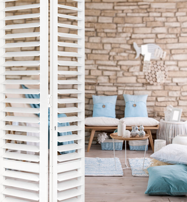 detail of aluminium shutters in a satin white colour