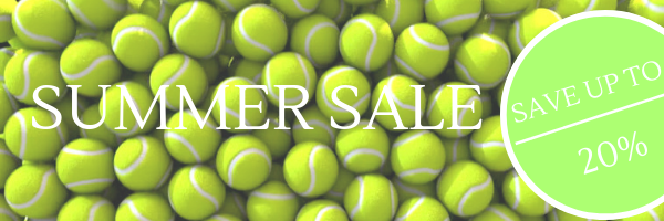 summer sale on shutters showing many tennis balls