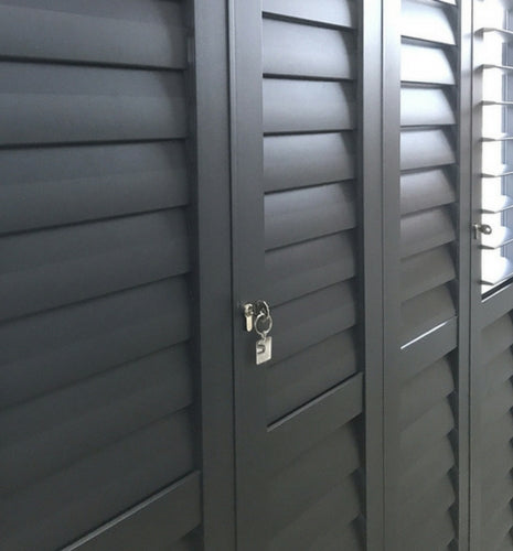 security aluminium shutters in a charcoal colour