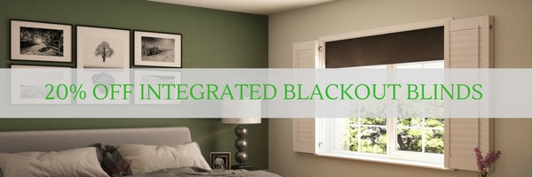 banner showing bedroom with blackout integrated blinds and shutters