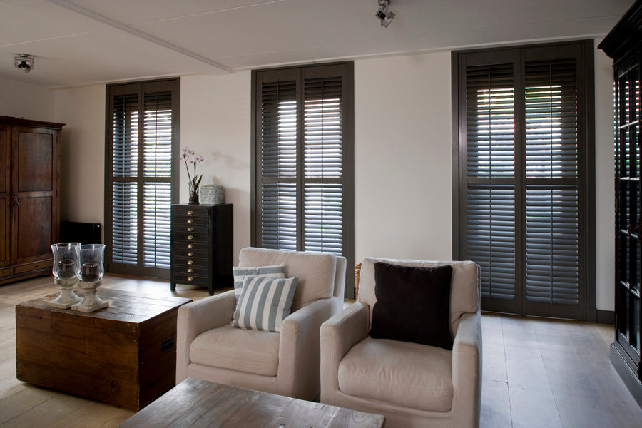 dark coloured shutters in a modern living room