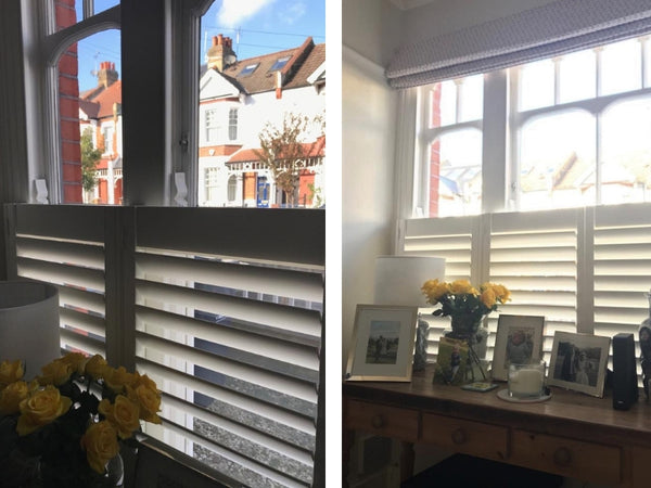 two images showing details of windows with half height shutters in Chiswick family home