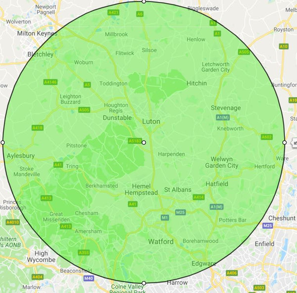 map of hertfordshire and surrounding areas covered by The Shutter Shop
