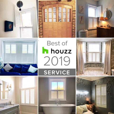 8 images of shutters with Houzz 2019 service award logo in the middle