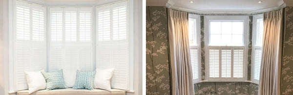 comparison between two different shutter styles for a bay window