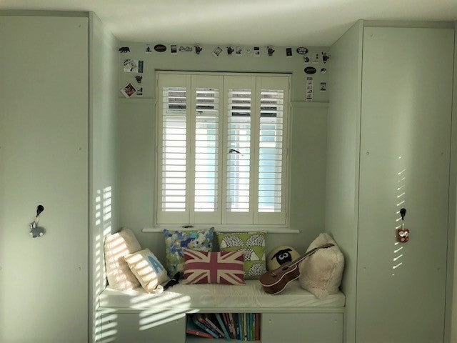 children bedroom with full height shutters