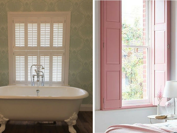 luovred shutters in a bathroom on the left and solid panel shutters in a bedroom on the right