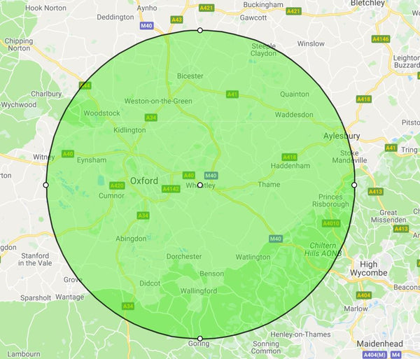 area of Oxfordshire served by The Shutter Shop
