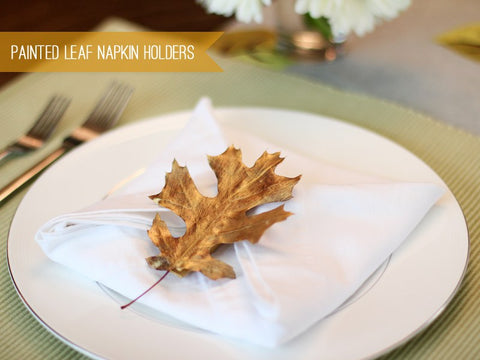 decor idea: painted leaf napkin holder