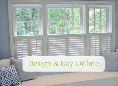 image showing cafe style shutters with a design online button on top