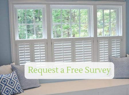 image showing cafe style shutters with a request a survey button on top