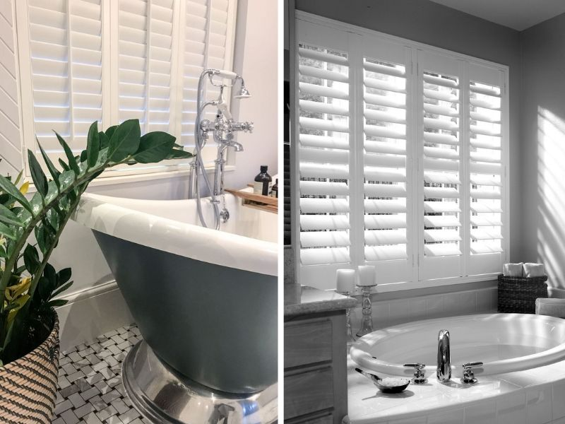 two images of waterproof shutters for bathroom windows