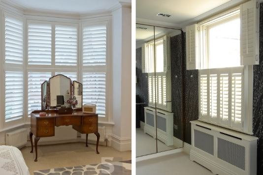 two portrait images of rooms with white shutters