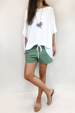Stone Wash Denim Shorts