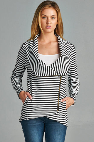 Black Stripe Shawl Collar Jacket