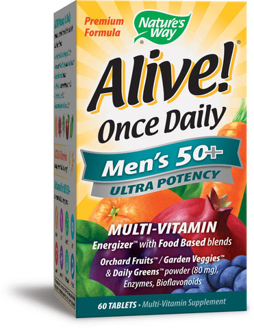 Nature's Way Alive! Once Daily Men's 50+ Multi Ultra Potency Tablet, 60 Count