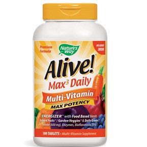 Nature's Way Alive! Max Potency Multi-Vitamin, No Iron,180 Tabs