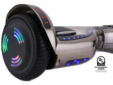 ProZip Stealth Self Balancing Hoverboard Scooter with GPS, APP, Auto Level, Bluetooth UL2272 Chrome GunMetal
