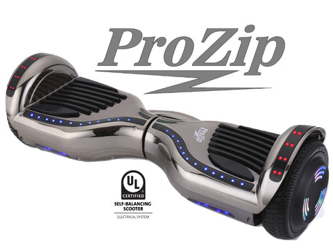 ProZip Stealth Self Balancing Hoverboard Scooter with GPS, APP, Auto Level, Bluetooth UL2272 Chrome Black