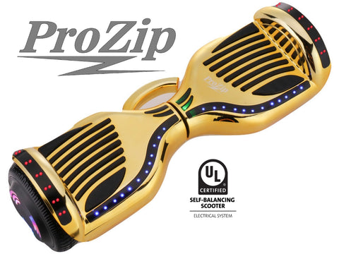 ProZip Stealth Self Balancing Hoverboard Scooter with GPS, APP, Auto Level, Bluetooth UL2272 Chrome Gold