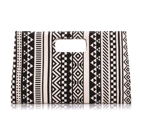 Black and white strip evening bags canvas business purse - JCBling Prime