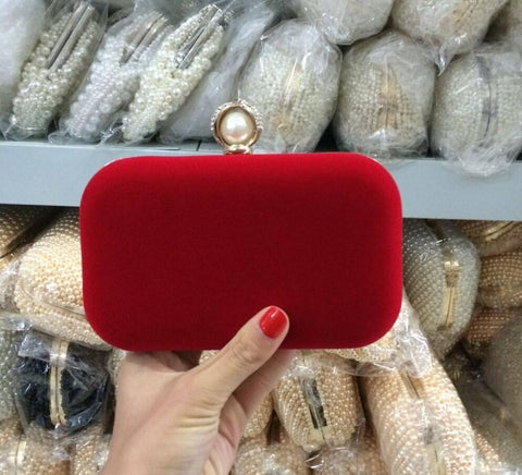 Velvet Women Clutch Bags Pearls-Clasp Day Clutch Handbags
