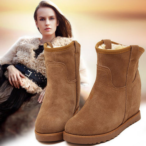 Winter snow boots waterproof thermal genuine leather wool